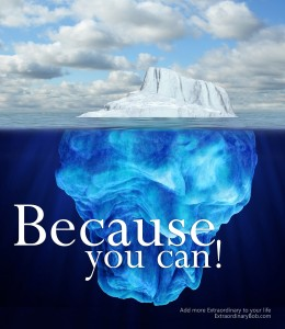 Photo of an iceberg with the text Because You Can!